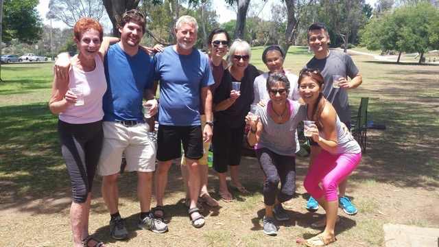 Essentrics lovers in San Diego enjoying a picnic together after a last class in the park before Betty moved back to NYC!