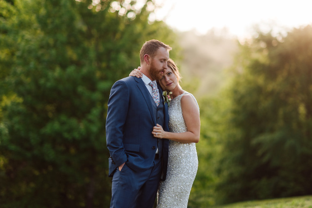 Romantic Nashville country wedding sunset portrait