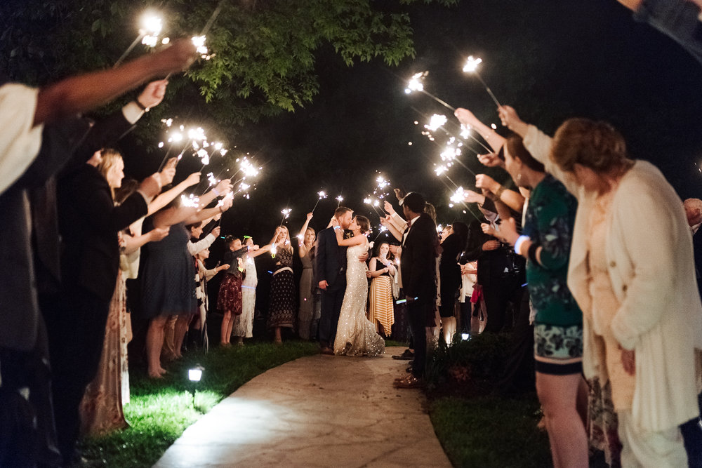 Nashville outdoor wedding sparkler tunnel exit