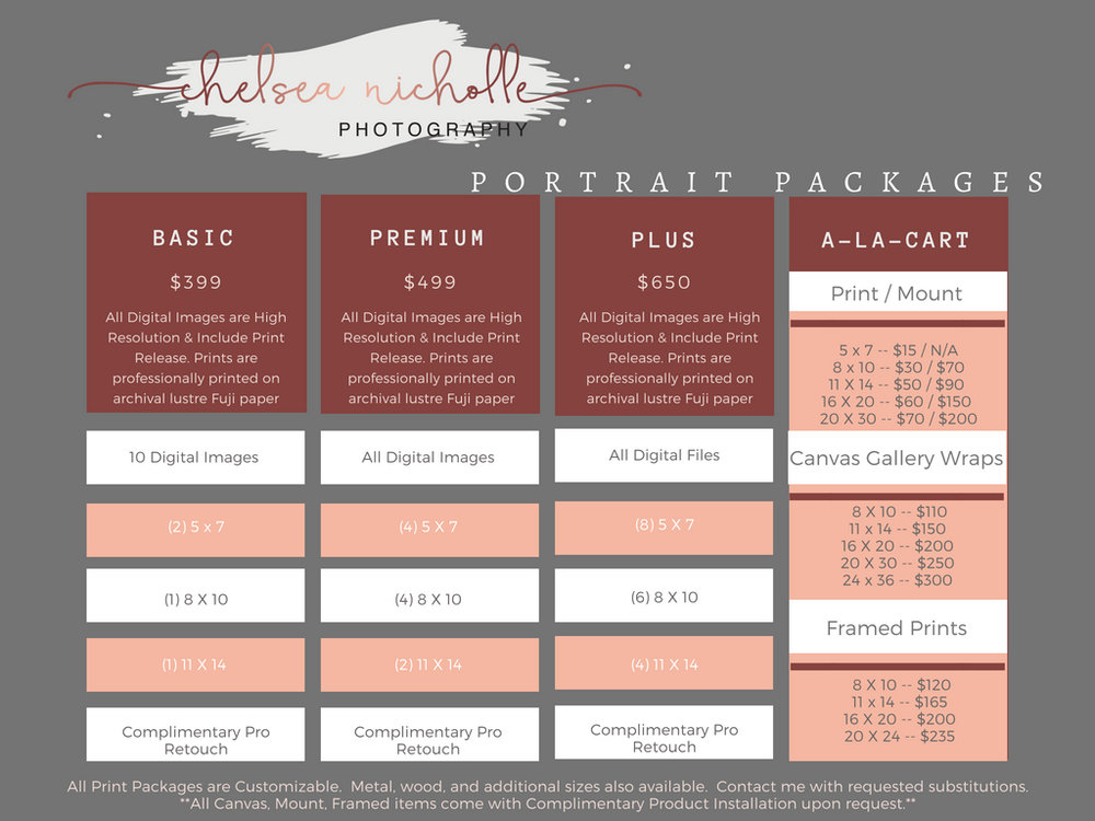 Chelsea Nicholle Photography Portrait Package Pricing