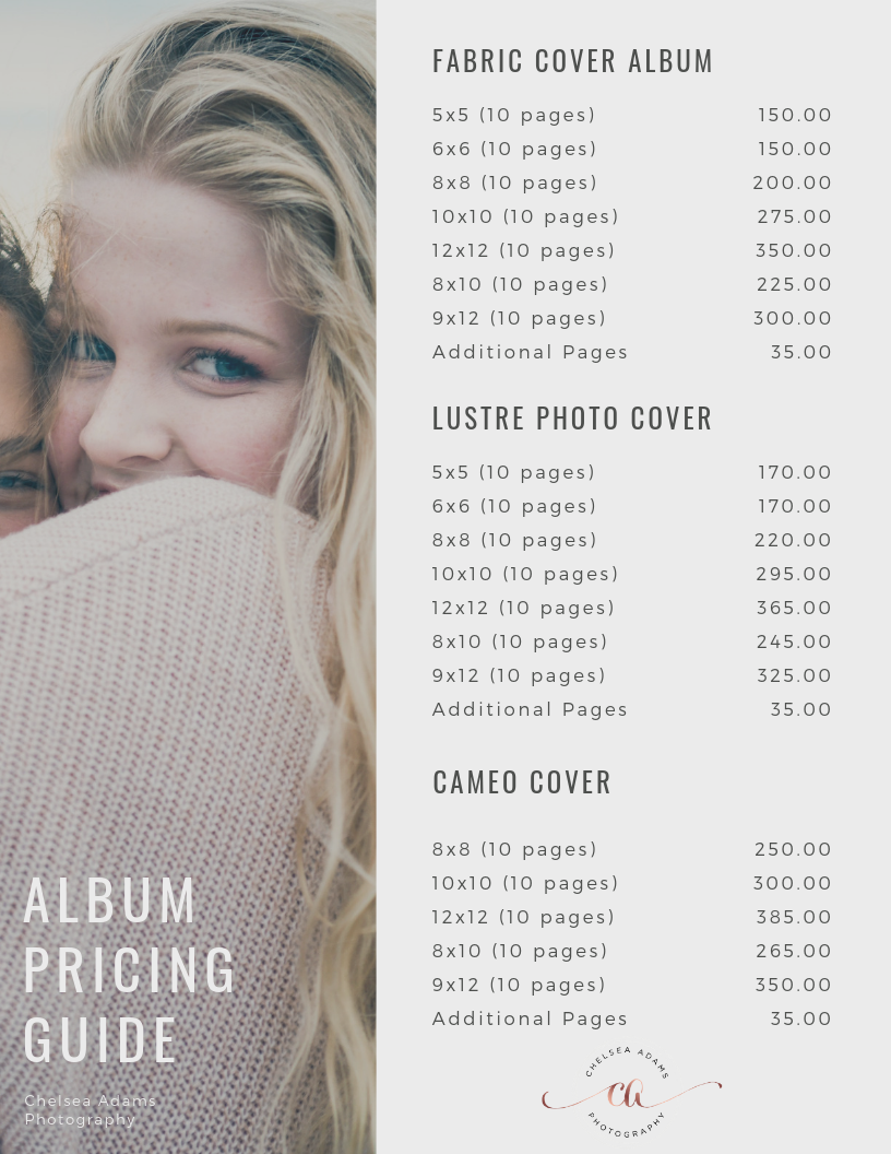 Chelsea Adams Photography Album Pricing Guide