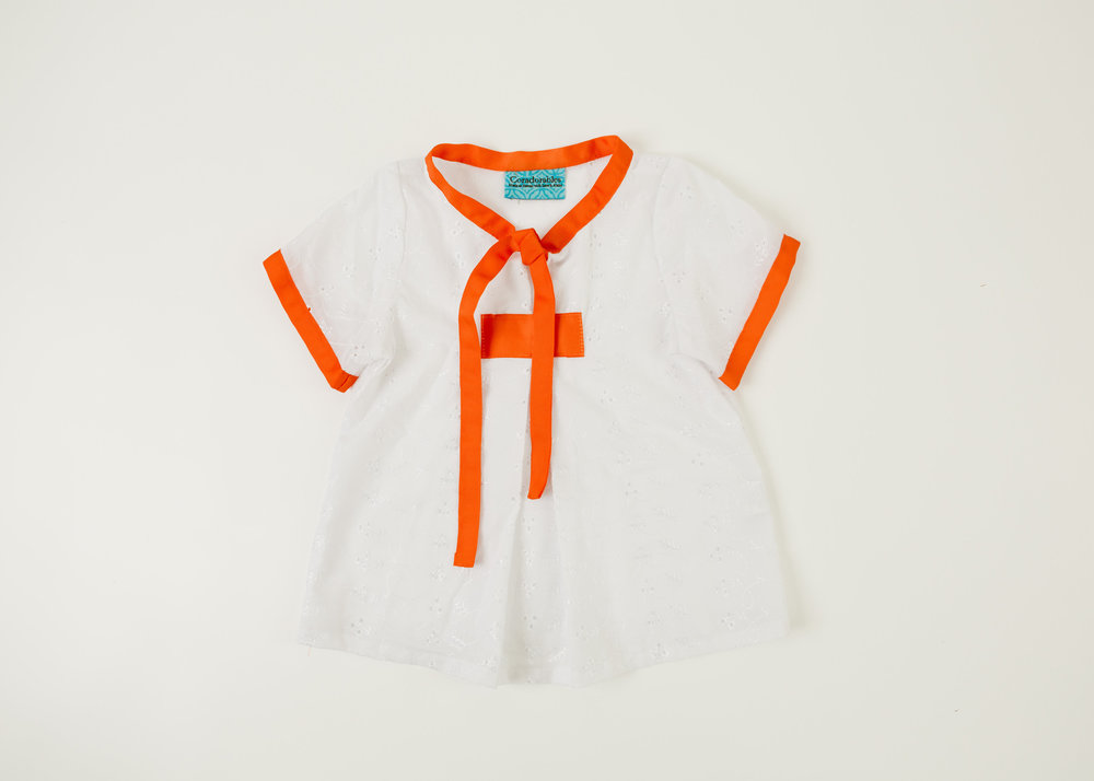Coradorables white eyelet grosgrain piped blouse