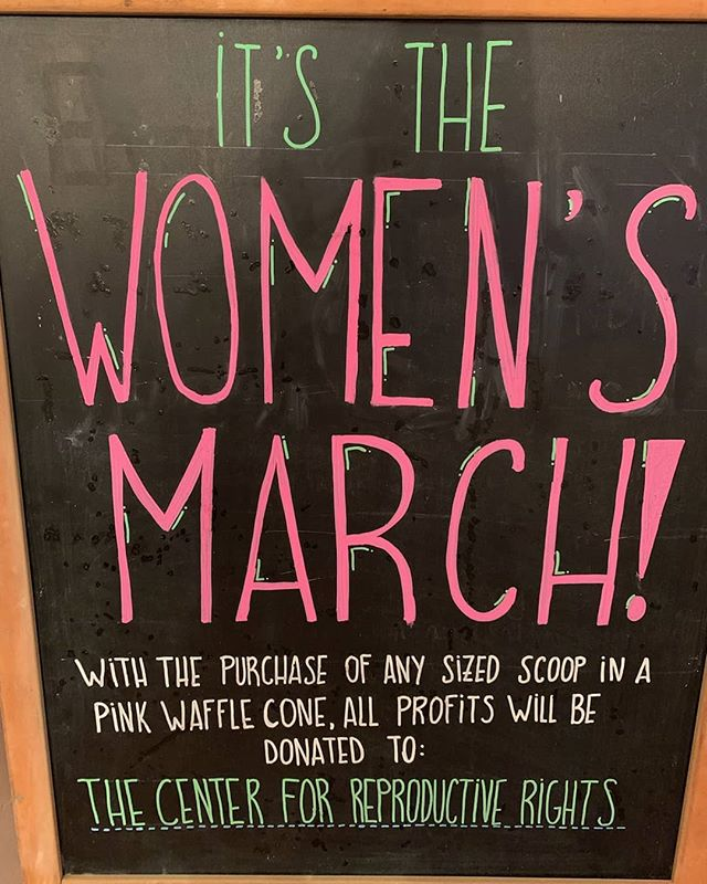 TODAY ONLY. We have strawberry cones. All of the profits from these cone sales + whatever scoop size you get will be donated to The Center for Reproductive Rights. Shop is open until 11! See you soon!