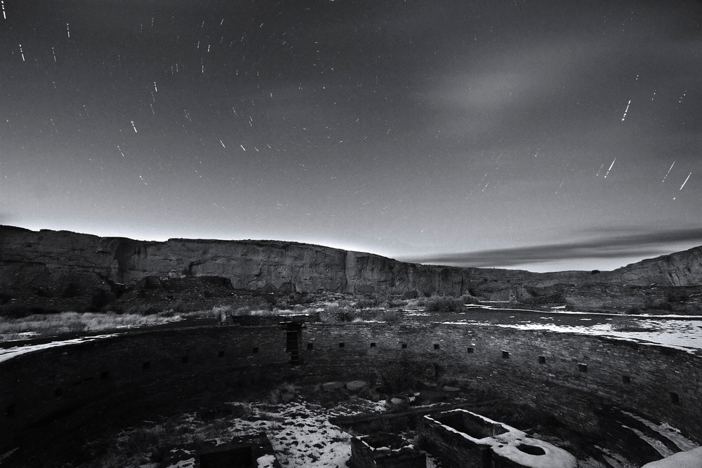Night image of the great kiva in Chetro Ketl