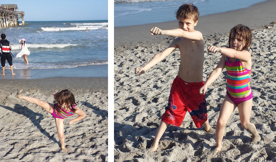 Andrew & Shayna, both Lakes Martial Arts Karate Kids,  went to Orlando to visit family in March and practiced on the beautiful Cocoa Beach. What a great way to celebrate their first time to the ocean!