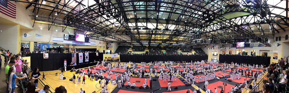 A panoramic photo of 2015 ATA Fall Nationals in Orlando, FL. Whew! This perspective illustrates the whirlwind adventure of energy and emotion seen from the eyes of a photographer competitor, a 4th degree mid-term tester, and a judge for three different rings (including girls black belt creative and XMA forms and weapons, black belt mens 17-29, and black belt women 17-29)!