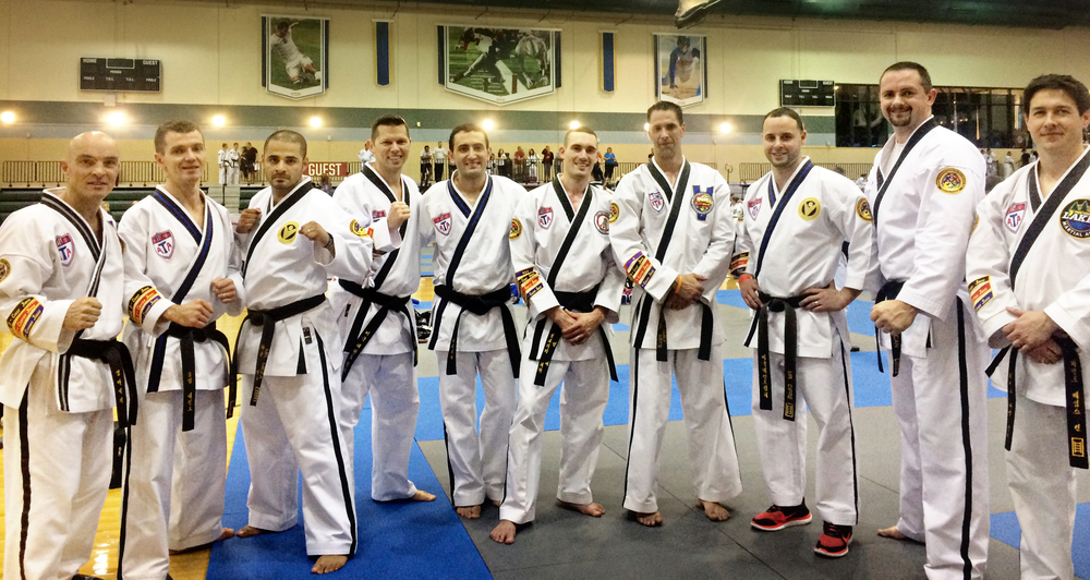 competitors in the men's 4th & 5th degree (ages 30-39) division at 2015 ATA Fall nationals. Mr. Kern is pictured far right.