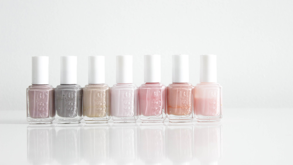 Essie Demure Vixen, Chinchilly, Brooch the Subject, Minimalistic, Flawless, Mucho Dinero, Sugar Daddy
