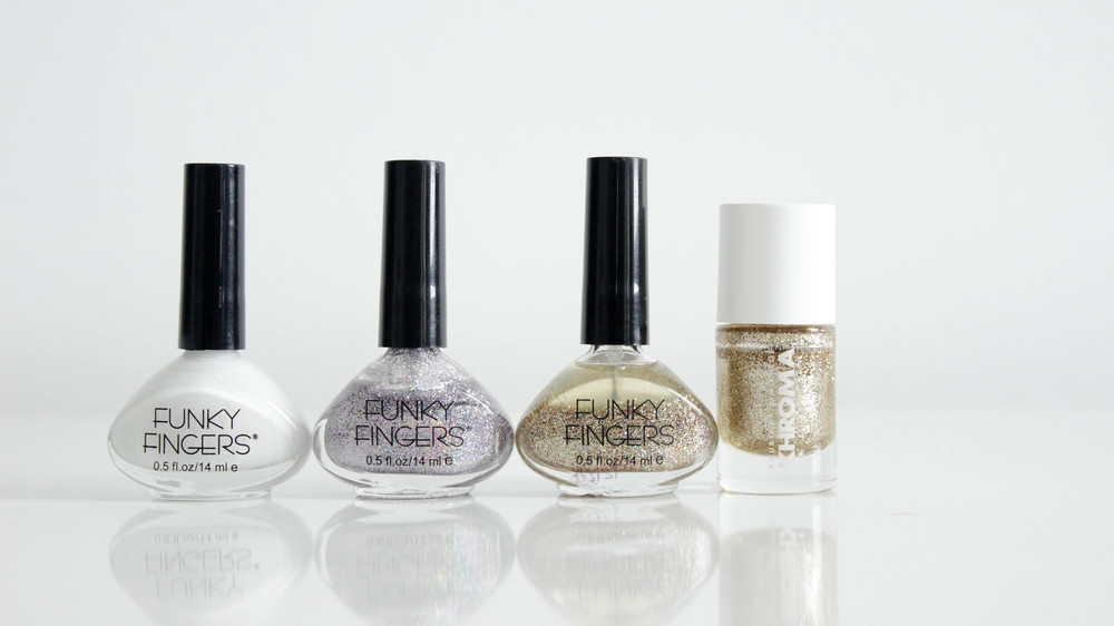 Funky Fingers Gesso, Sand & Stilettos, Fool's Gold, Khroma Fairy Dust