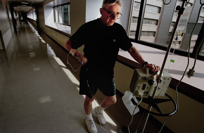 John has a rare blood type, and has been waiting on the transplant list for longer than a year. He does two miles worth of laps around the eighth floor every day, trying to stay fit enough to remain on the transplant list.