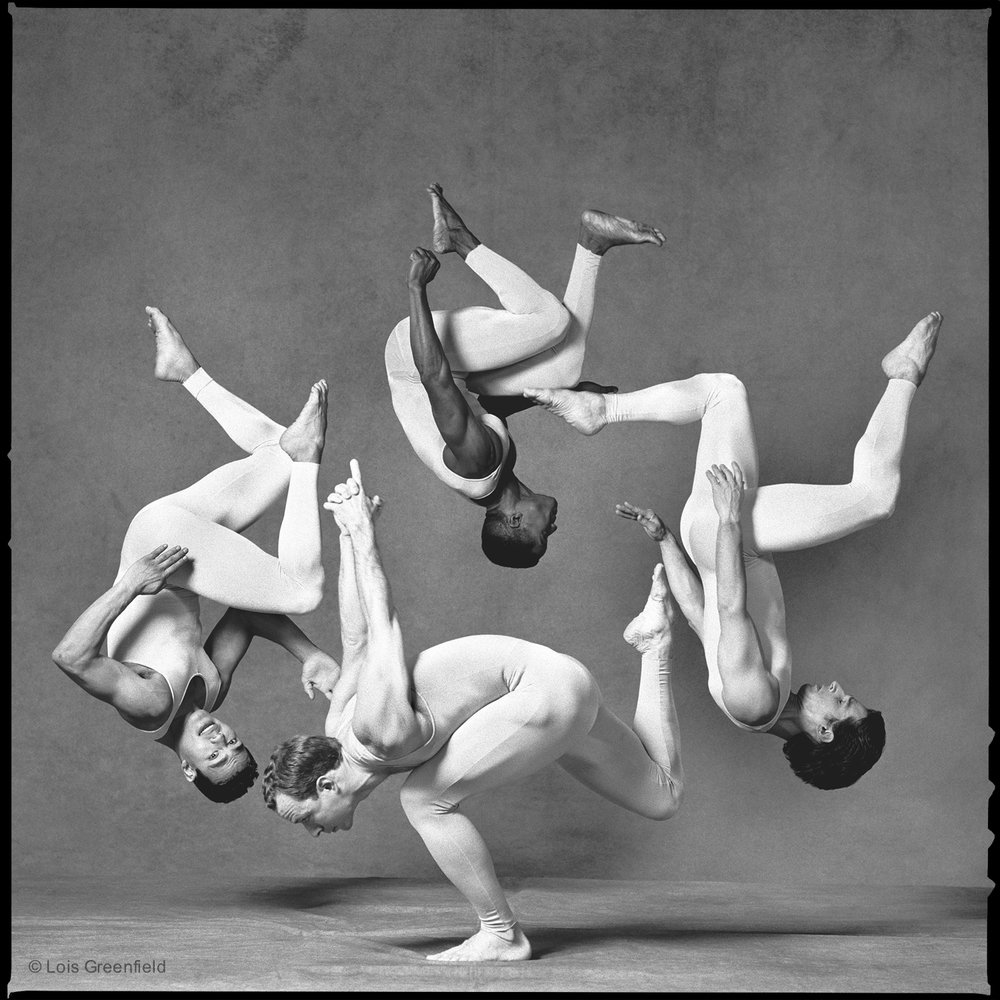ANDREW PACHO, FLIPPER HOPE, HARRISON BEAL, CHRIS HARRISON, ANTIGRAVITY DANCE COMPANY, Shot for  Raymond Weil Watches    I had some of my favorite gymnasts doing somersaults in a circular formation to evoke the internal workings of a watch. The maneuver was not especially difficult for such talented performers: the challenge was in coordinating the timing of each gymnast and the height of each somersault so that they would form a circle in the air.