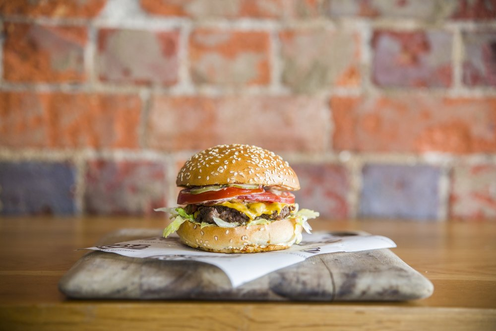 Grosvenor - Beef, bacon, shed sauce, cheese, lettuce, tomato, pickles$15