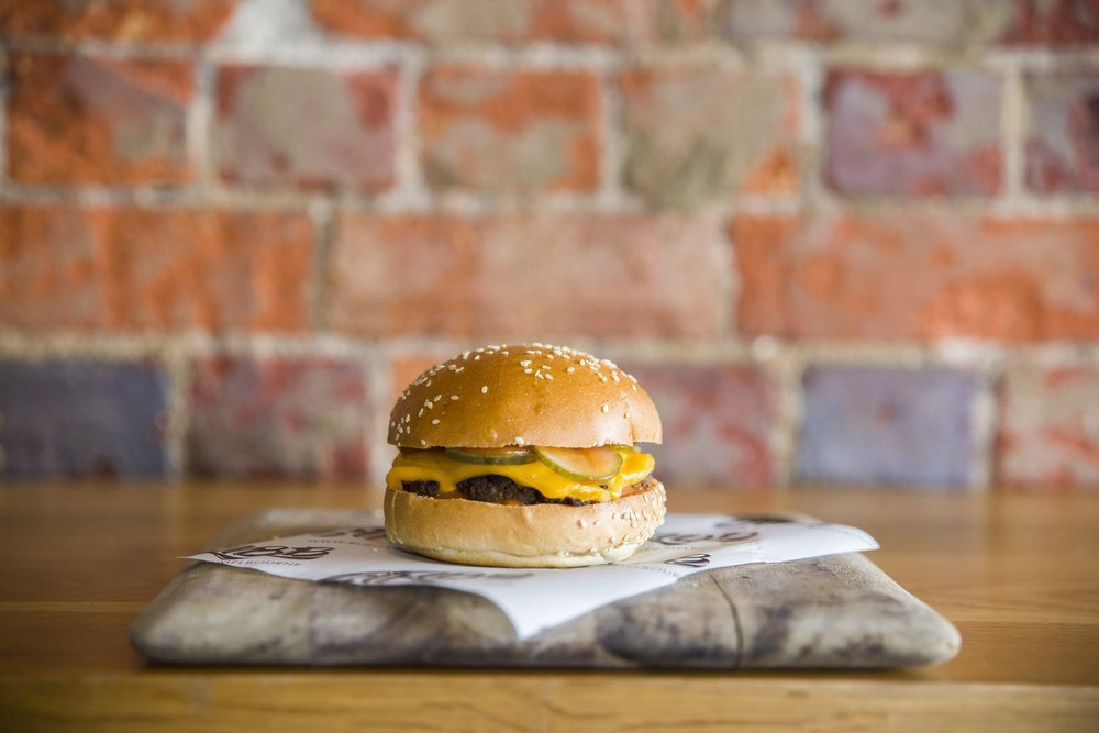 cheeseburger - Beef, double cheese, pickles, house ketchup$11