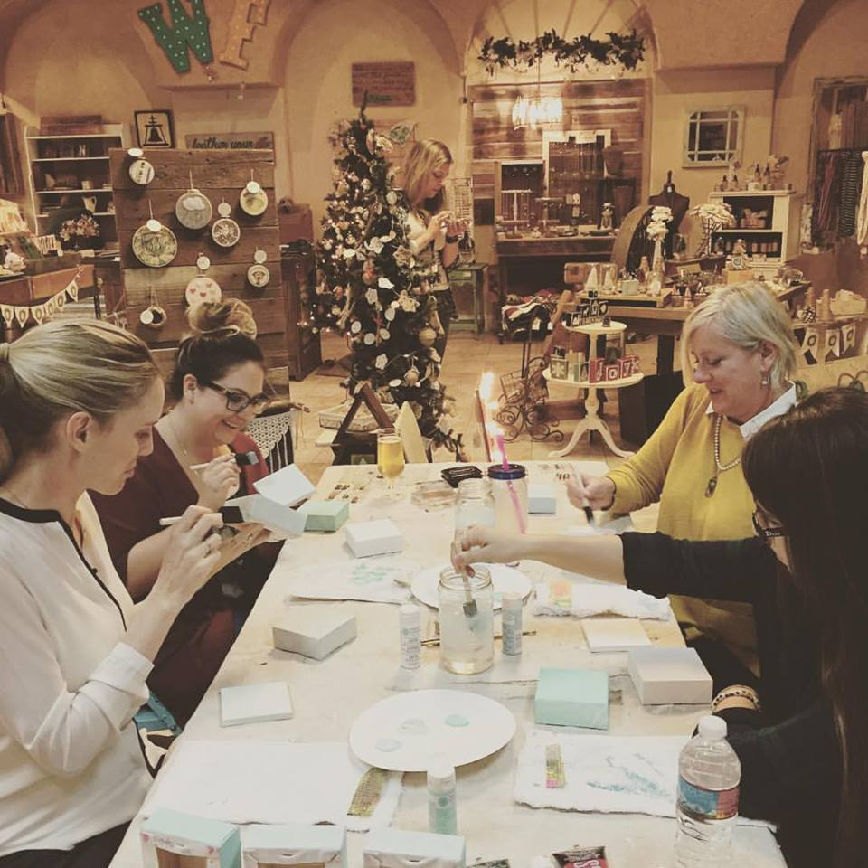 Dec. 2015   DIY Mini Canvases at The Weathered Feather in Riverside