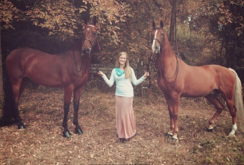 Holly Bahr with her 2 American Saddlebred horses:  CH TygerLuv of Silver Oaks (right) and Where Angels Fly (left)