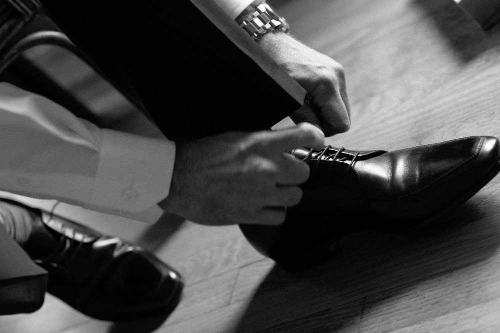 Black and White Wedding Photography of Groom
