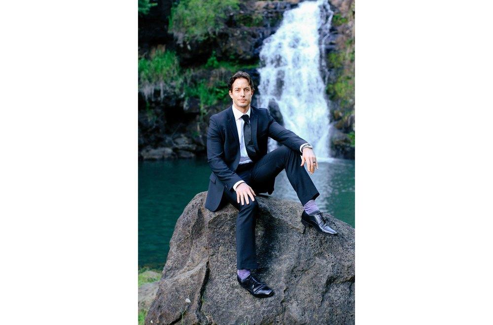 Portrait of Groom Waimea Falls