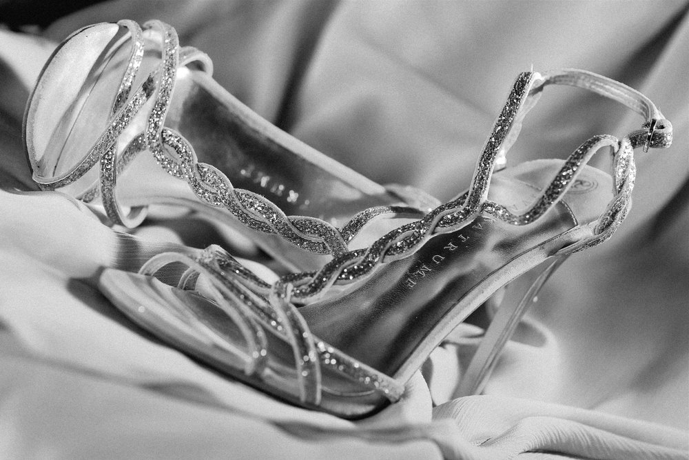 Black and White Wedding Photography Bride's Shoes