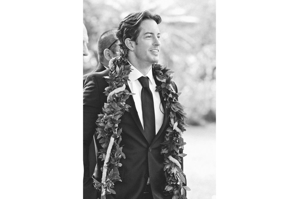 Black and White Wedding Photography Hawaii Groom