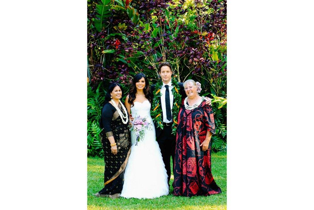 Family Portrait at Waimea Valley Wedding