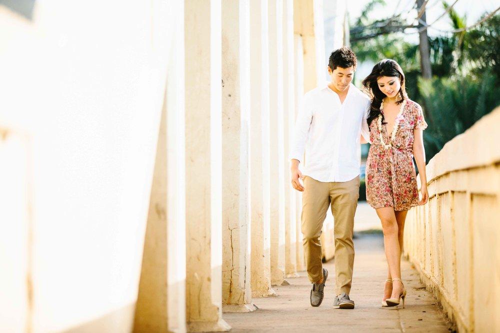 Casual Couple walking on Rainbow Bridge