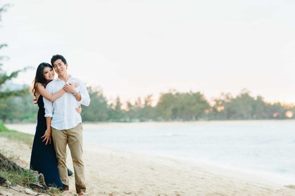 Engagement Couple at Mokuleia Beach