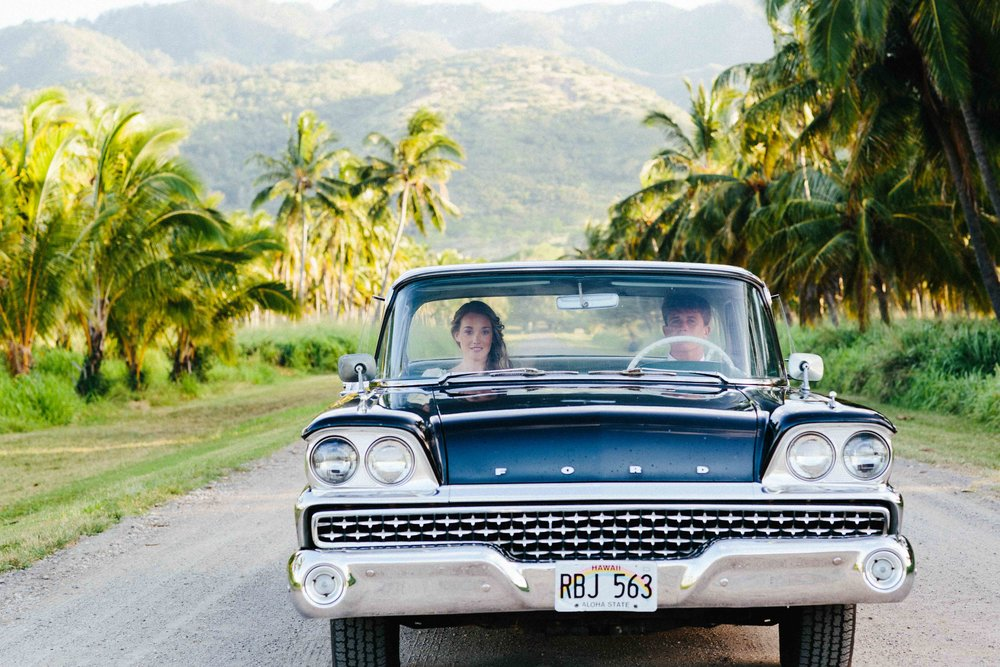Vintage Car Ride With Bride and Groom