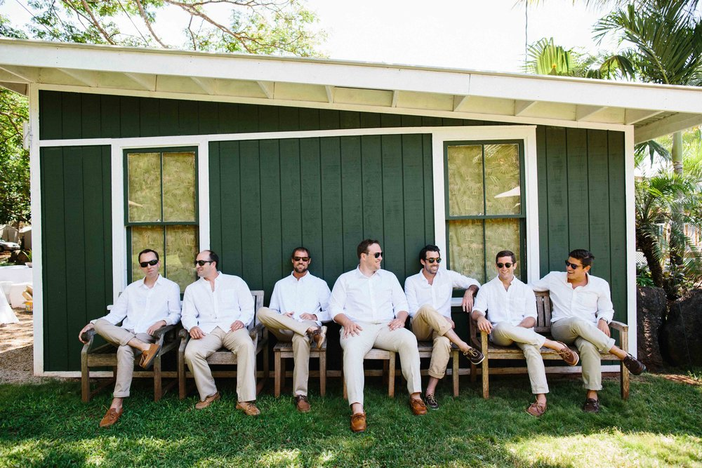 Oahu Wedding Photography of a Groom with his Groomsmen