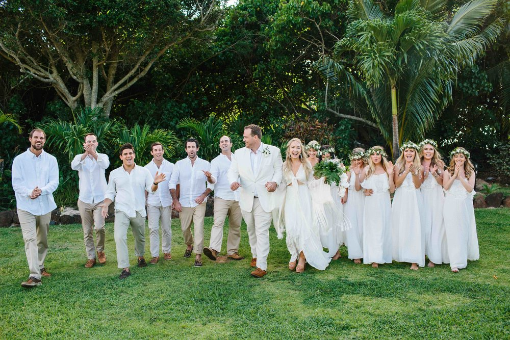 All White Bridal Party at a Bohemian Wedding