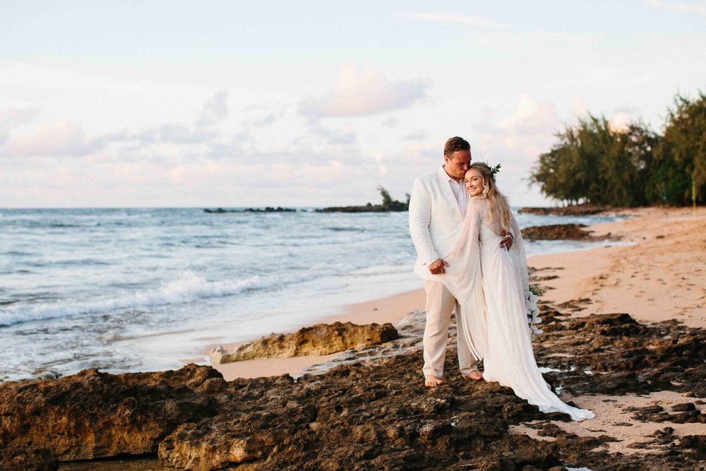 Oahu Beach Wedding Photography of Bride and Groom