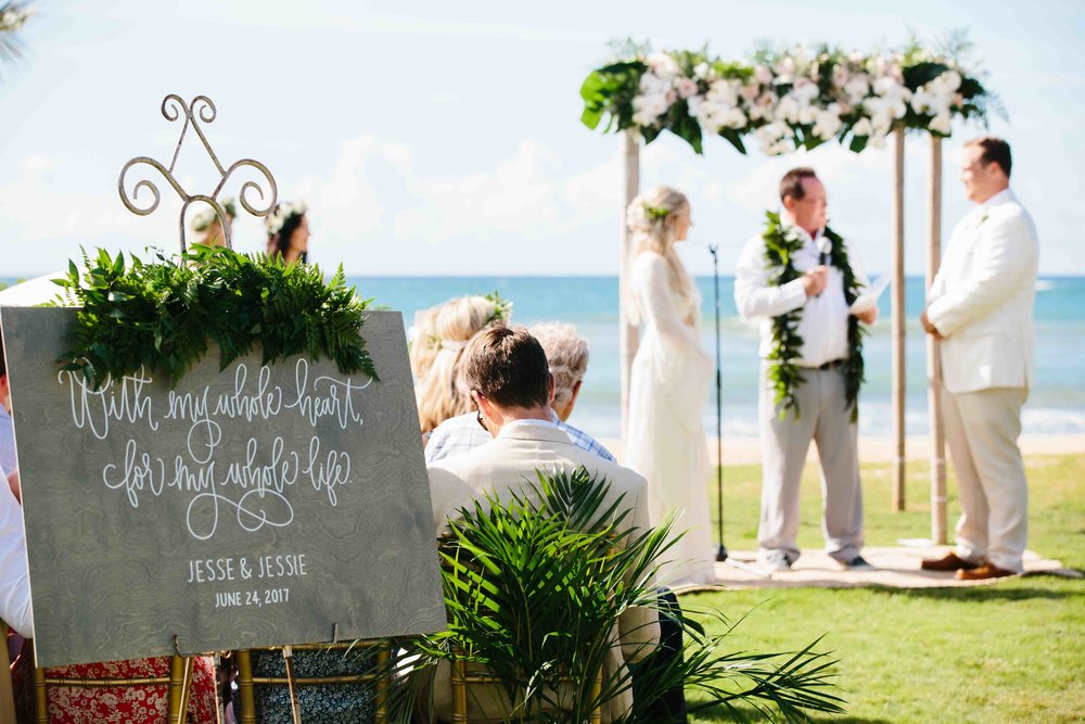 Wedding Sign at a Oahu Wedding Ceremony
