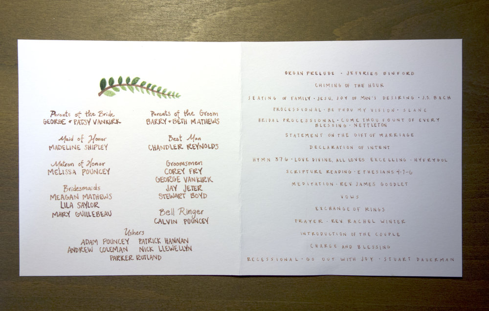 Matthews Wedding Program—Inside