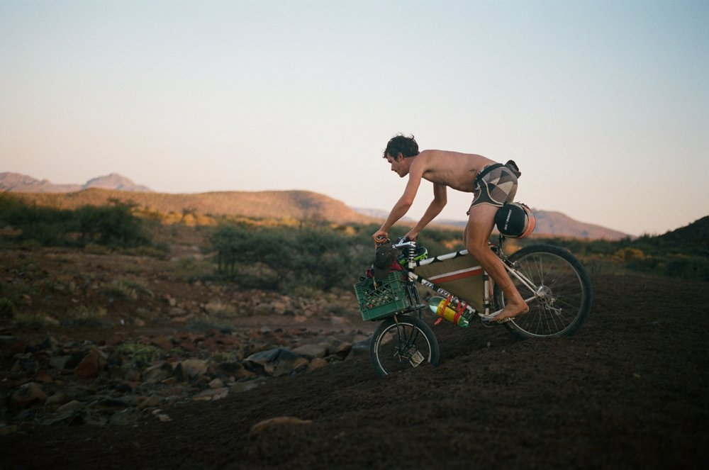 Among the typical bikepacking rigs (like mine) were much more unconventional bikes and gear solutions. My pal Adam rode barefoot most days on a vintage mountain bike carrying most of his gear in a milk crate secured to a Clydesdale cargo fork from Crust Bikes.