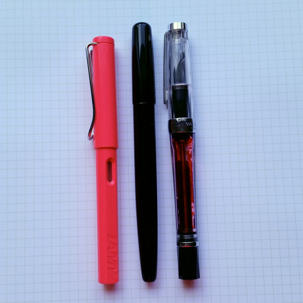L to R: Lamy Safari, Model 65, TWSBI Vac 700