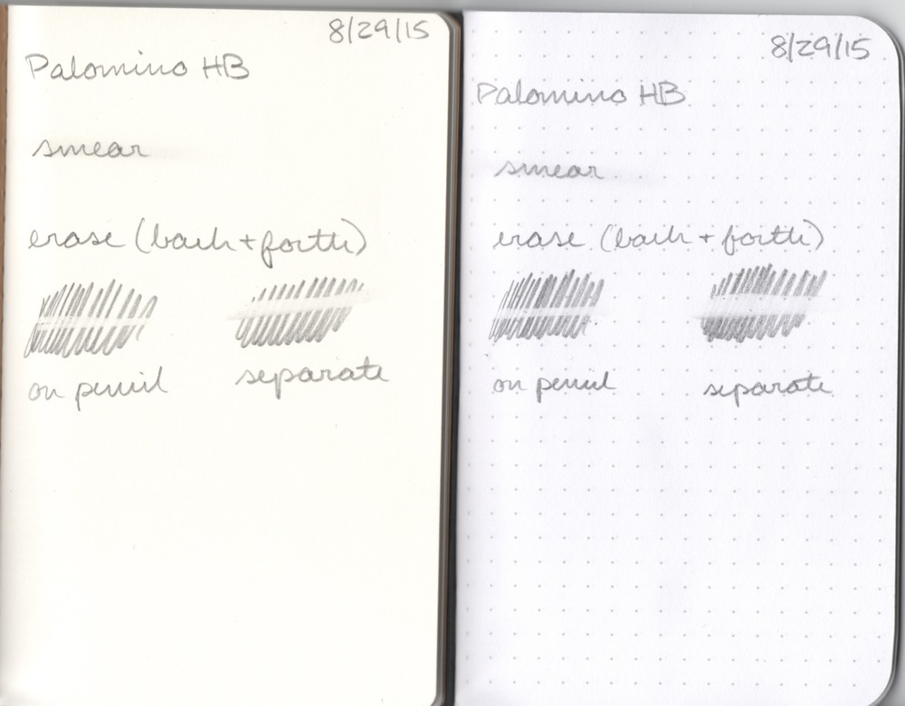 Smearing and eraser tests on ForestChoice (left) and Field Notes Pitch Black (right)