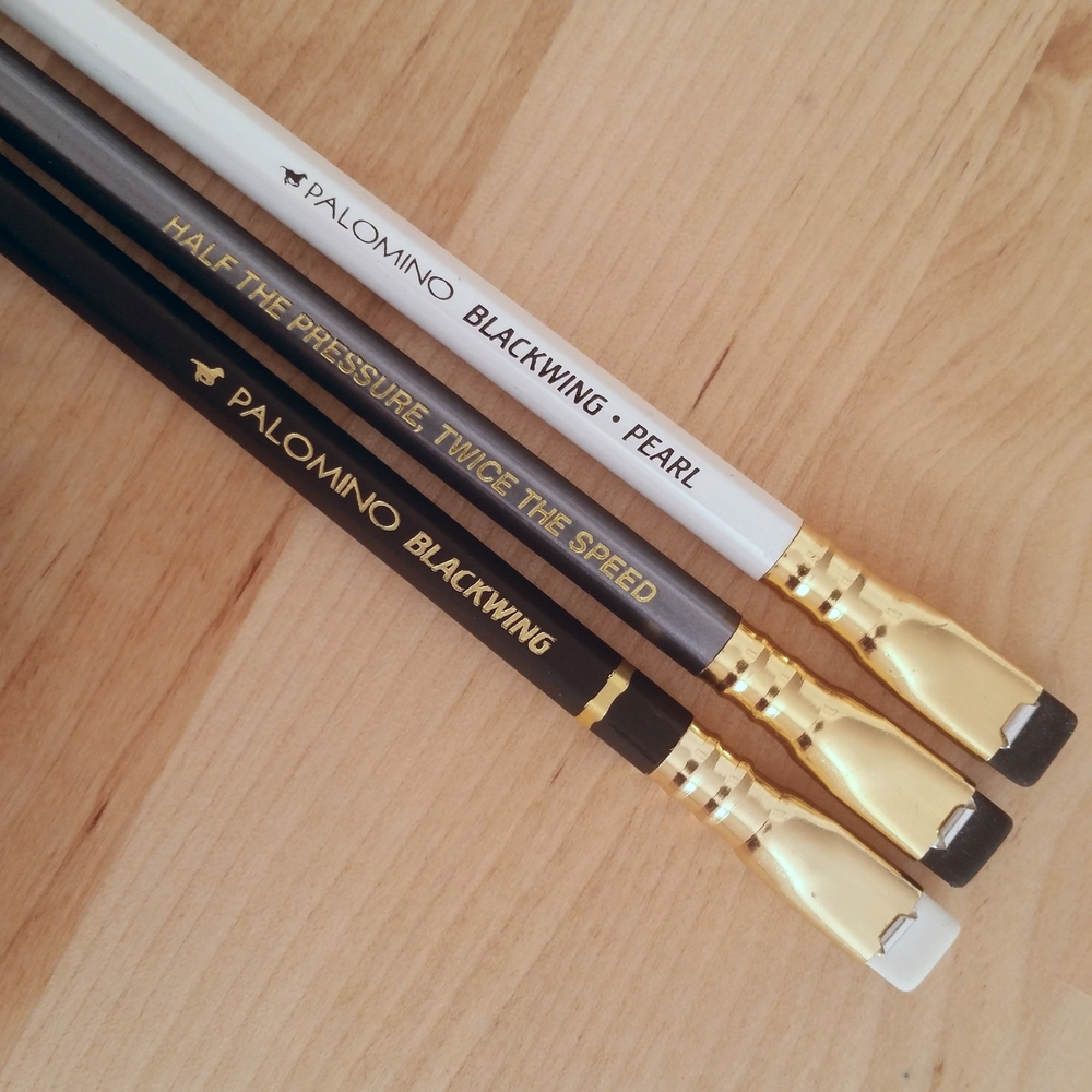 From left to right, the Blackwing (MMX), the Blackwing 602, and the Blackwing Pearl