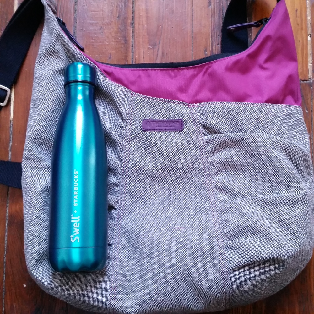 Bag from Timbuk2, bottle from S'well