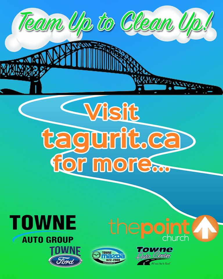 On Saturday, May 21st, 2016 Towne Auto Group's three locations (Towne Ford, Towne Mazda & Towne Auto Center) are teaming up with the Point Church to clean up this beautiful river of ours and any surrounding areas that want to participate!   Here is how it will work: Supplies can be picked up at any 3 of their locations or at either location for the Point Church. You can register your team or yourself at  tagurit.ca  and choose which area you would like to clean up. They will have trucks out the day of the clean up to pick up your bags once they are full. They will have prizes and a barbecue at the Point Church in Newcastle at noon to celebrate everyone doing a great job pitching in to clean up the city!  You can check out more at the events Facebook page!    https://www.facebook.com/events/1028322913923640/