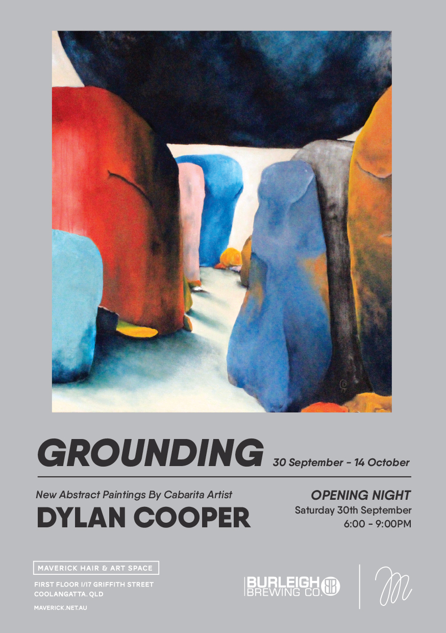'Grounding' is the second solo exhibition from Cabarita based landscape painter, Dylan Cooper.  The series features his characteristic representation of rock formations but there has been a shift. Light floods dark places and a vibrant colour palette allows us to see the playful side of otherwise intimidating compositions.  Grounding takes a tour around the Giraween National Park, Queensland. Dylan uses multiple layers of mixed media on canvas. His pieces range from moody and desolate to vibrant and even calming. He allows light to play through the scene even in the darkest of settings. Through the use of palette knives, bold brushstrokes and rendering, he creates scenes that are texturally rich.   Dylans works invite you to pause and take in the scene as a whole, but also to step in and discover the secrets these monolithic formations hold.  Please join us for the Opening Night; 30th September from 6-9PM  Beverages will be supplied by Burleigh Brewing Co