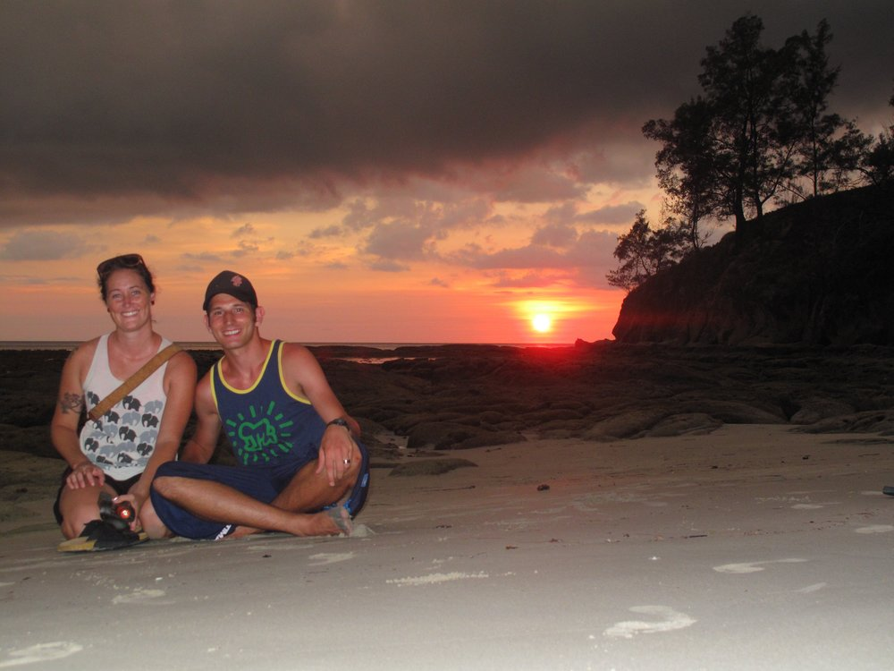 Sunset on the beach at the Tip of Borneo