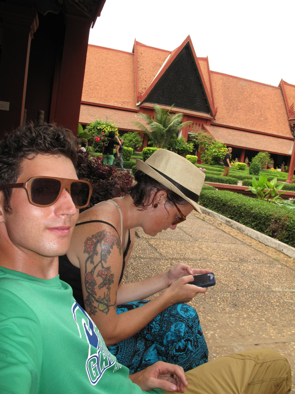 Incredibly sweaty selfie, Grand Palace, Phnom Penh