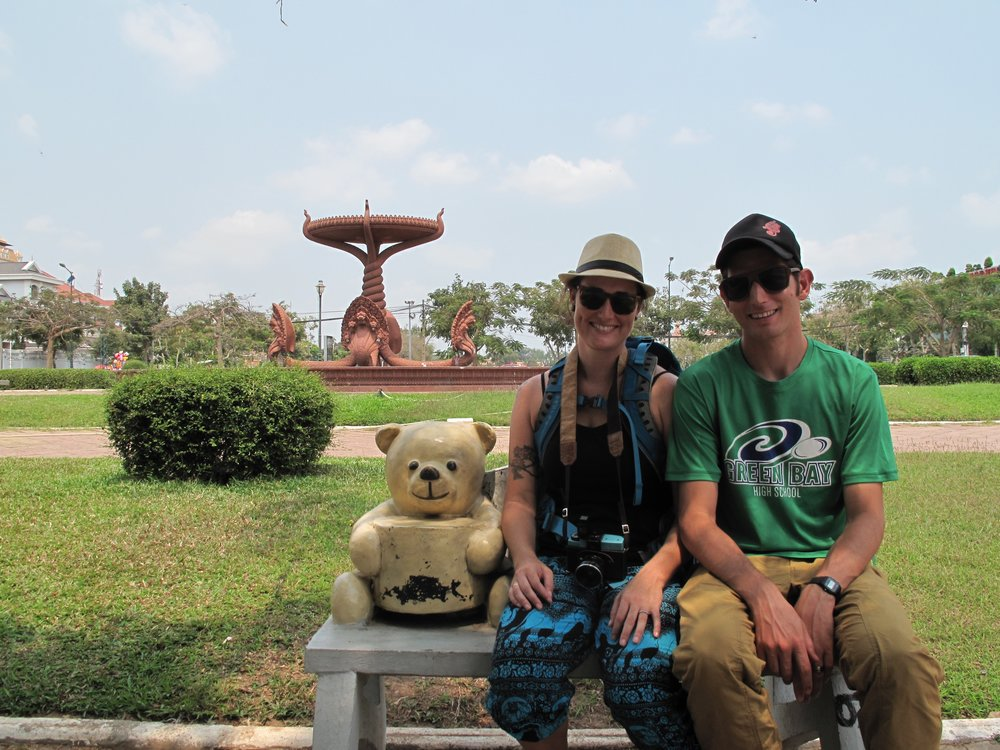 Teddy bear bench selfie, Phnom Penh