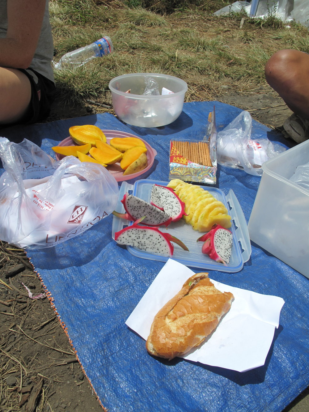 The lunch spread, Three Peaks hike, Dalat