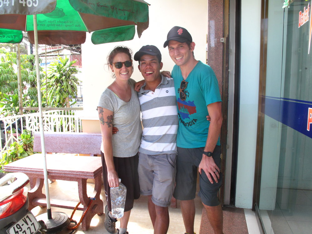 Us and our guide, back at the accommodation. Three Peaks hike, Dalat