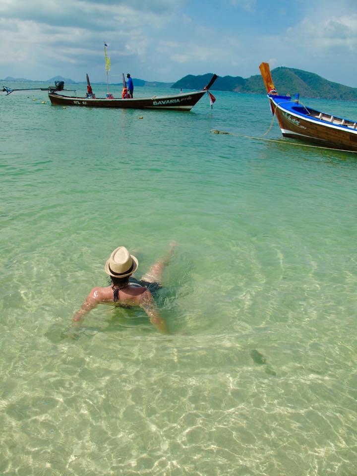 A relaxing soak in the ocean, Bon Island, Phuket