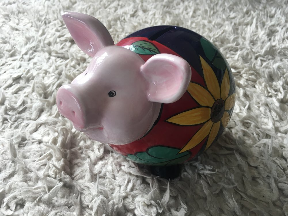 This is Travel Pig. Travel pig was a wedding gift from a very dear friend, and he collects all our cash. Birthday money, change, reimbursements... In it goes. And before we go away, we raid him!