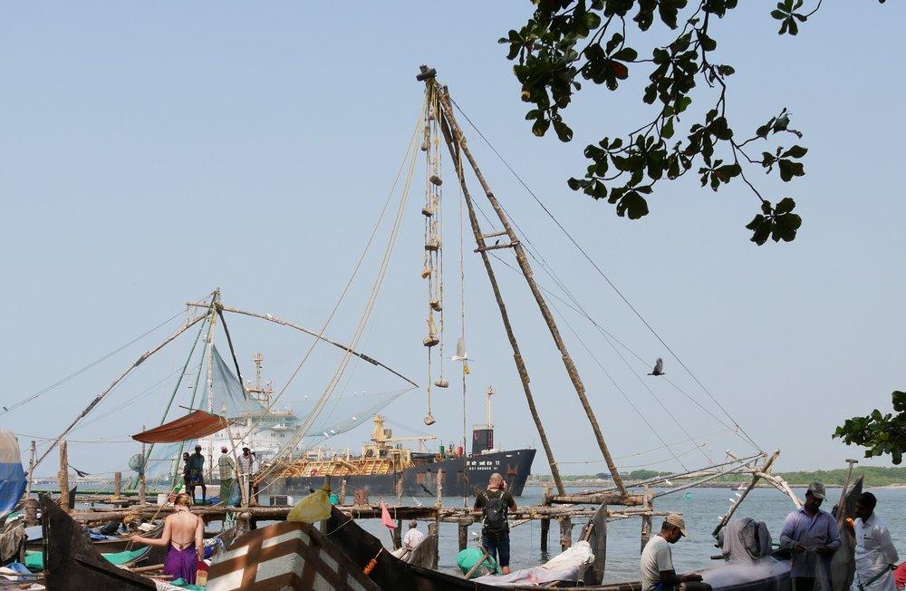 Chinese fishing nets along the waterfront