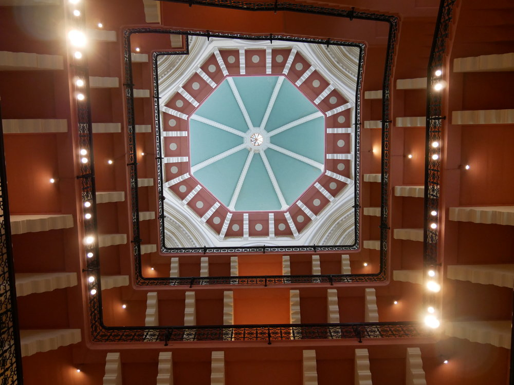 The ceiling above the main staircase