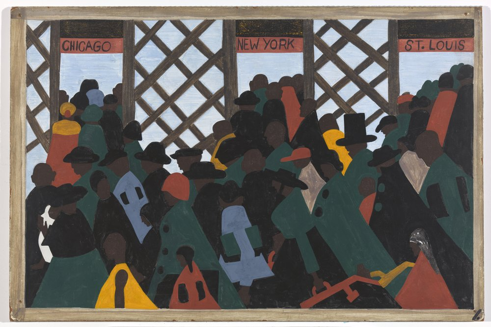 Jacob Lawrence. The Migration Series, Panel One, 1947.