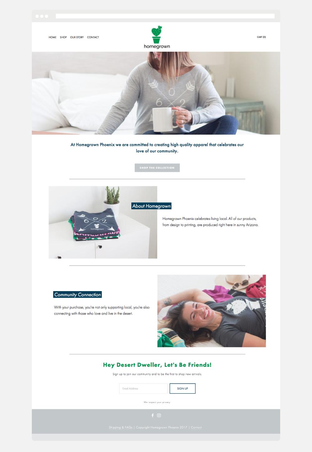 Ecommcerce SquareSpace Website Design for Phoenix Apparel Company